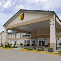 The welcoming exterior of the Super 8 in The Pas, Manitoba.