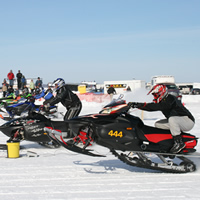 Snowmobiles racing at the Winter Festival of Speed