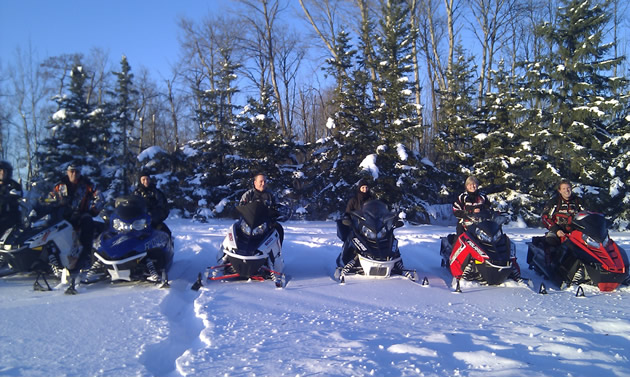 A group of Northern Lights Snowmobile Club members heading out for a ride just after Christmas of 2012.