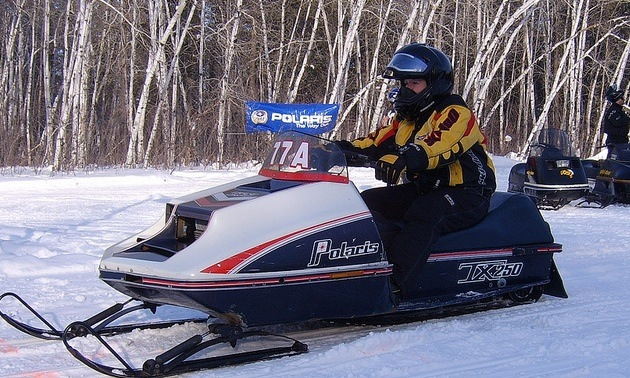 Betty Ladouceur on her snowmobile.