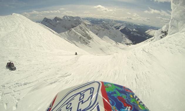Brent Linderman looking down from Lost Creek into Corbin, B.C.