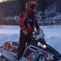 Dean Dube on his sled.