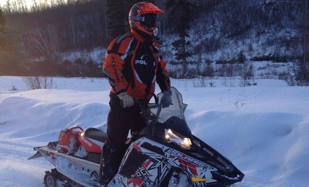 Dean Dube on his sled.