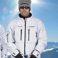 A man and a woman wearing matching white Icerock jackets.