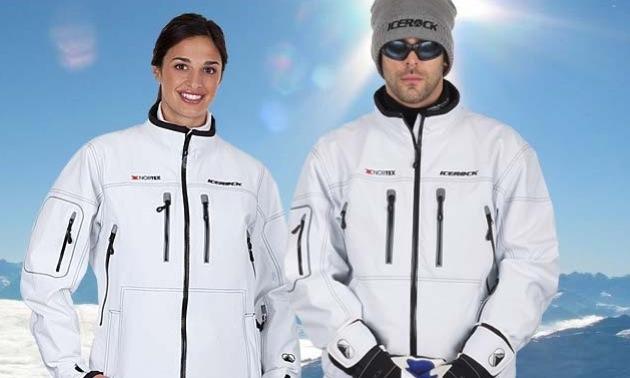 A man and a woman wearing matching white Icerock jackets.