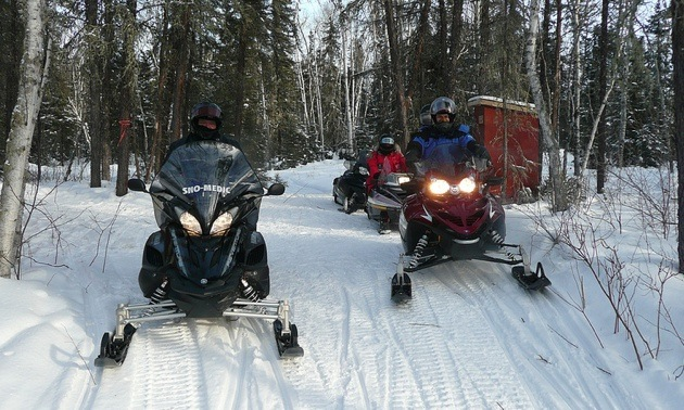 4 riders North of The Pas on Trail #12