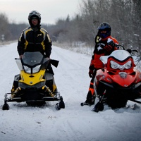 3 sledders on Iron Horse Trail.
