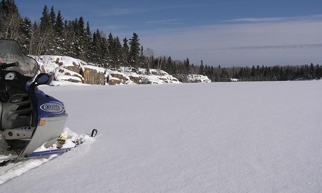 An  example of the numerous flat powder lakes seconds off the trail network in The Pas.