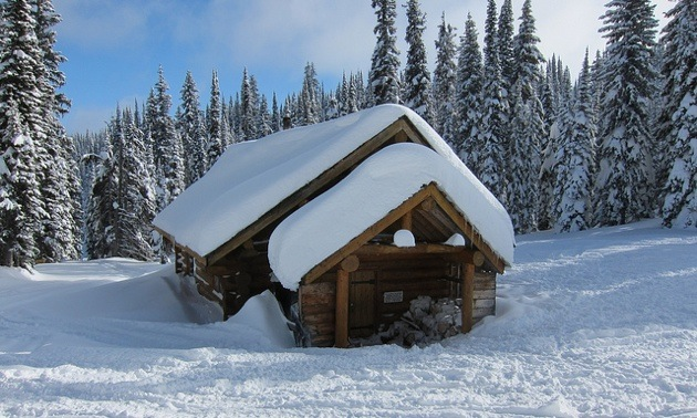 A photo of a cabin covered in powder snow.