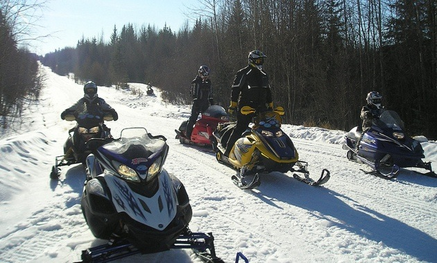 Westlock's Pembina Drift Busters stop for a rest on the Long Island Lake Trail's Main Loop.