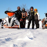 A family trail riding in Whiteshell, MB.