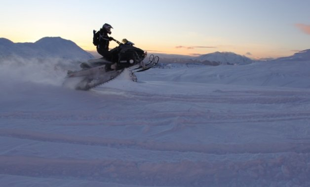 Snowmobiler Stacey Lampreau headed out on a 2009 Yamaha Nytro to take on The Onion, near Smithers, B.C.