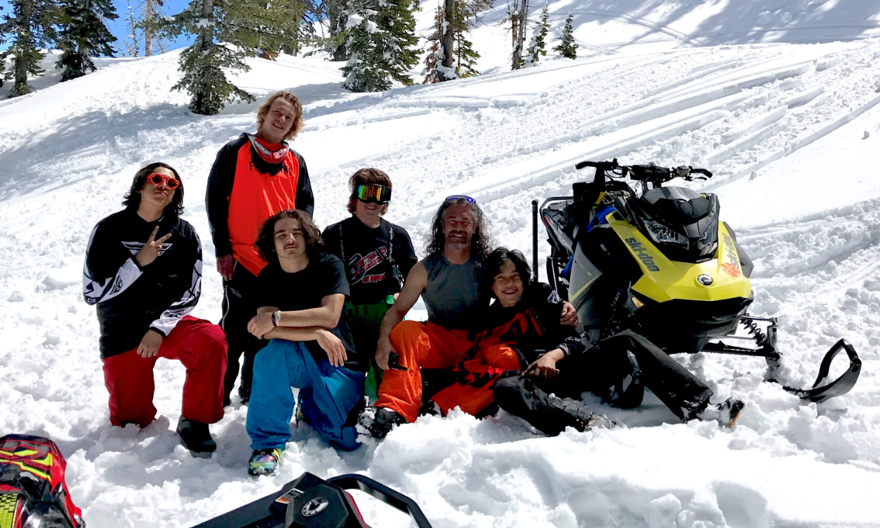 Left to right: Billyzane Coby (Red Pants/Black and white top), Kobe Sugihara (Standing Orange/Black top), Daxten Vanausdal (Blue pants Kneeling), Cooper Sugihara (Black Top/Goggles on), Randy Sugihara (Orange Plants), Azeri Coby (Black and red top).