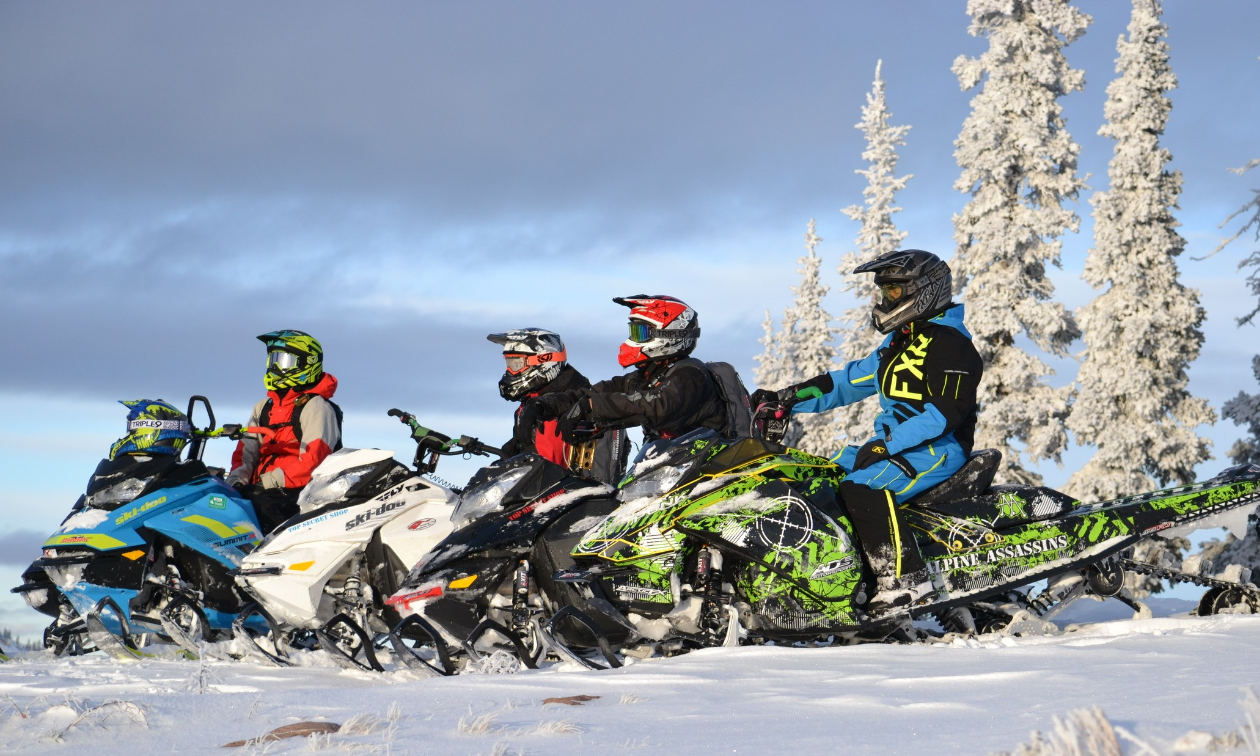 Four snowmobilers line up beside each other and look out into the distance.
