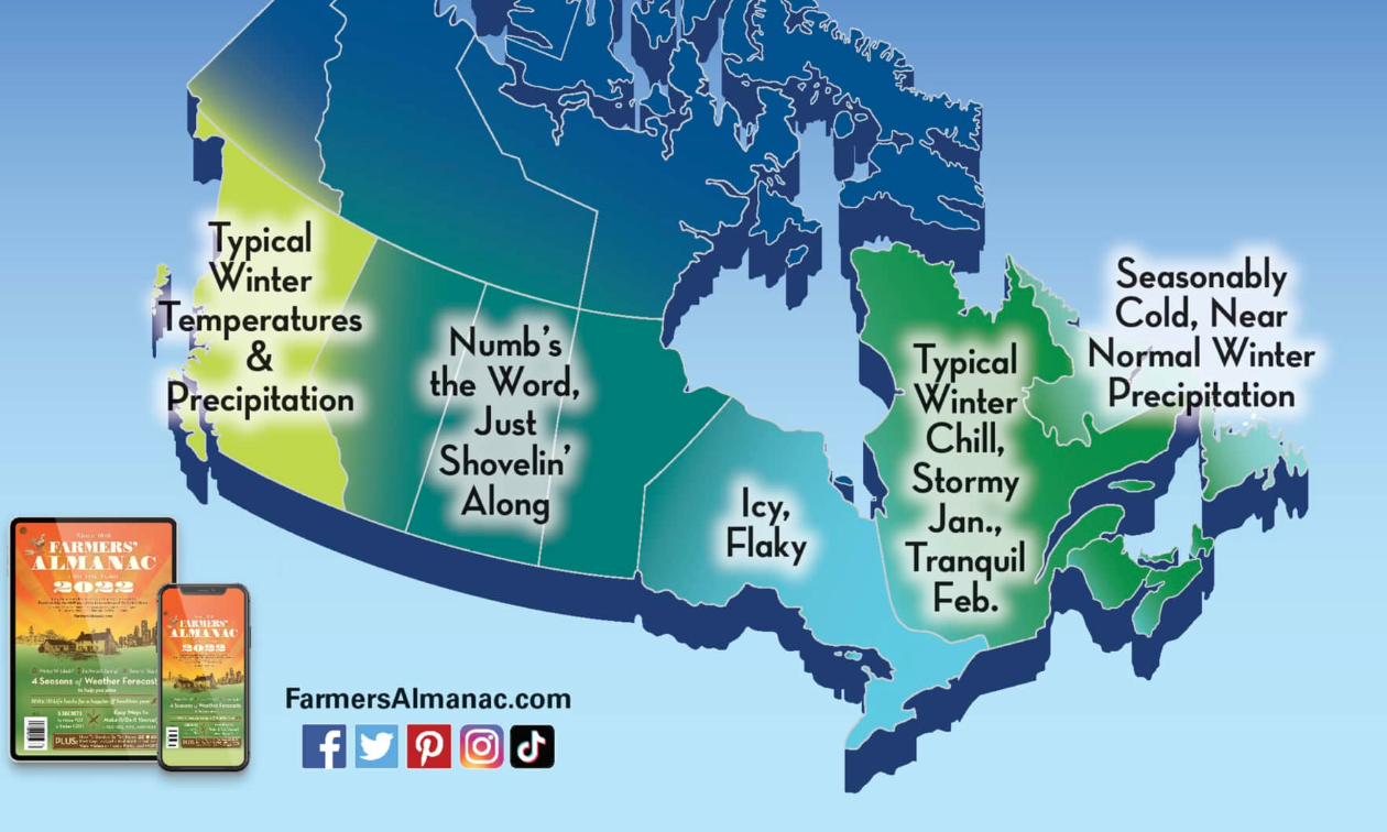 The Old Farmer's Almanac weather map of Canada for winter 2021-2022.