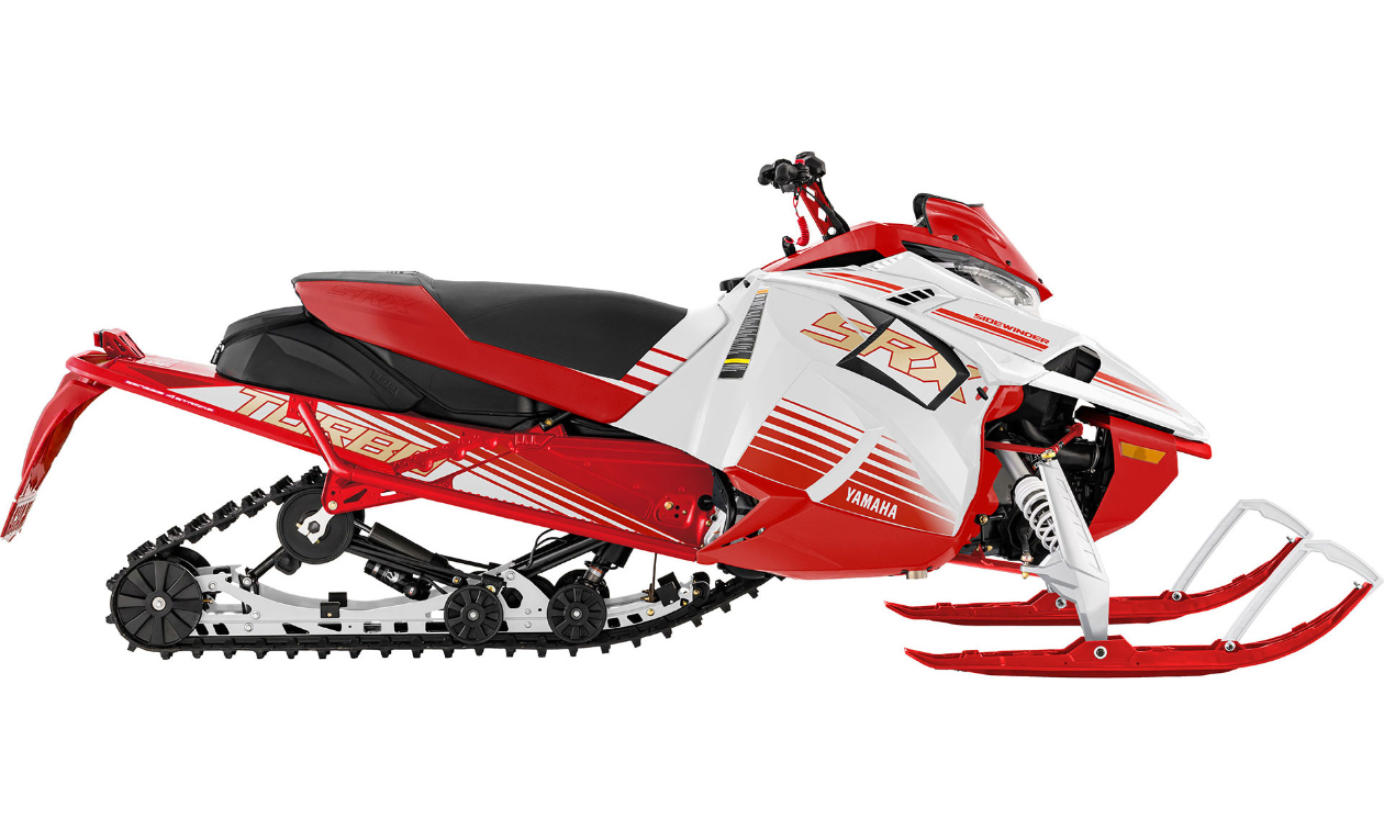 A red and white Yamaha 2022 Sidewinder SRX LE