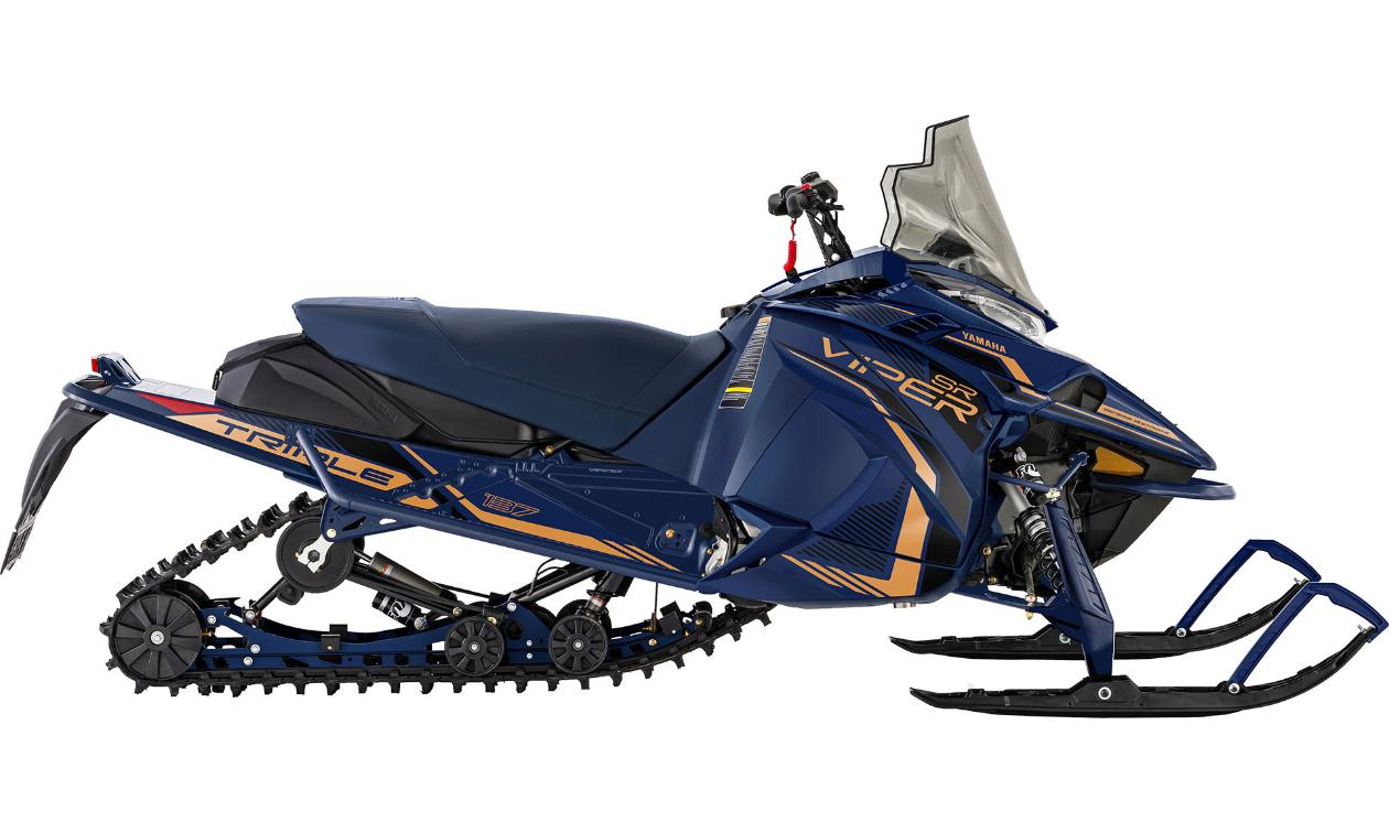 A dark blue and orange Yamaha 2022 SRViper L-TX GT