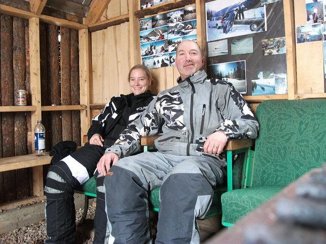 Darren and Baukje Strawson, in a cabin warming up.