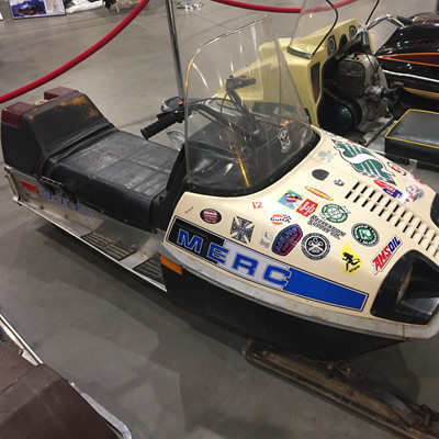 A vintage 1970's Mercury snowmobile.