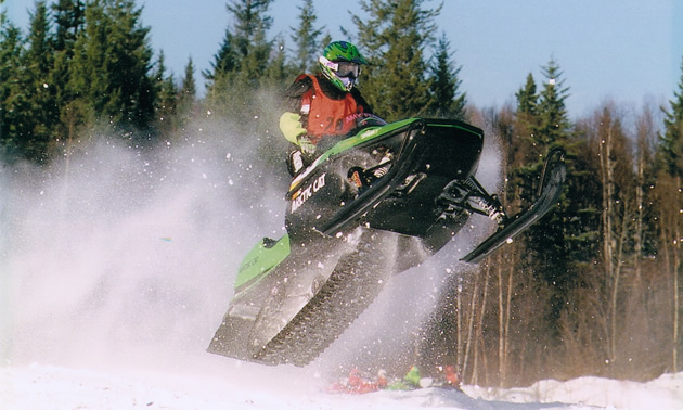 A woman on snocross.