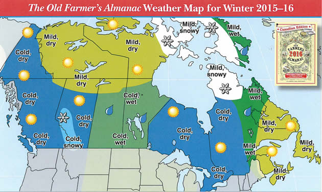 Weather predictions for the 2015 2016 snowmobiling season snoriders map of canada with the weather forecasts for winter 2015 2016 sciox Gallery