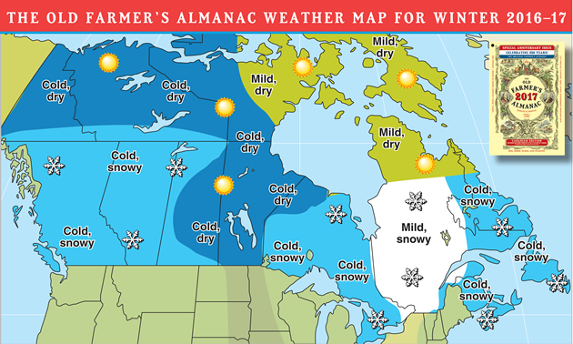 2017 winter weather forecast map for Canada.