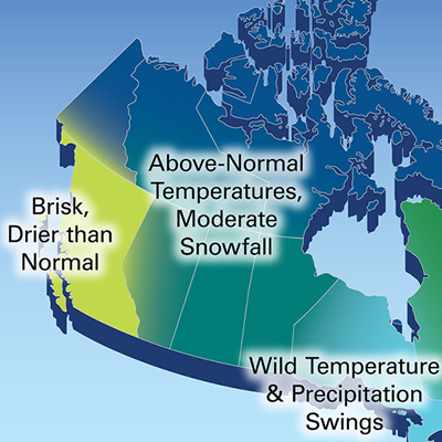 2018 Winter Outlook map for Canada.