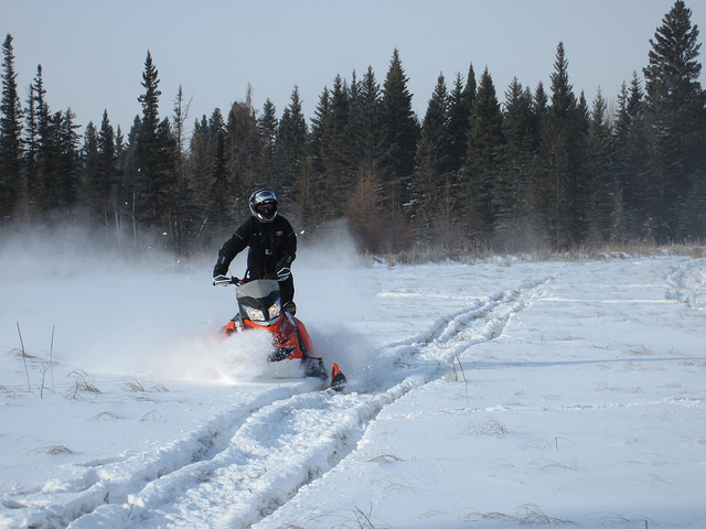 Nolan Dalpe enjoying some off-trail opportunities. This ride hosted the 2015 Saskatchewanderer.