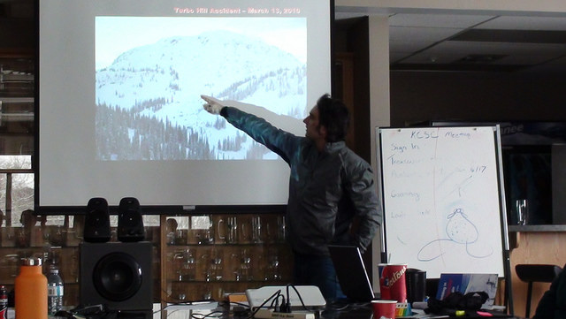 Trigger Point Snow services avalanche educator Chris Granter eplaining the importance of terrain management.