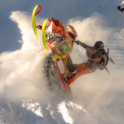 Sean Maxwell on his Ski-Doo in Valemount.