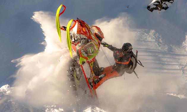 Sean Maxwell on his Ski-Doo in Valemount.