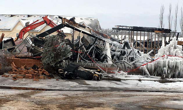 A pile of burnt rubble that was BOS Motorsports.