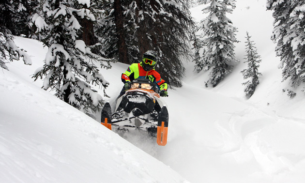Bret Rasmussen sidehilling the 2017 Ski-Doo Rev Gen4 850