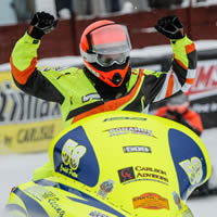 Cardell Potter fist pumps after his big win at Eagle River, Wisconsin.