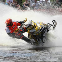 Chad Maki taking a turn in a watercross race.