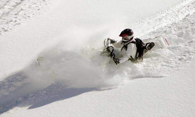 Megan Render slashes through the powder.
