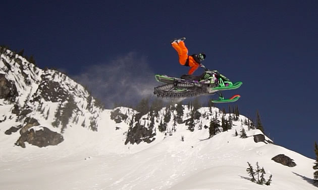 Brett Turcotte trickin it in the backcountry.