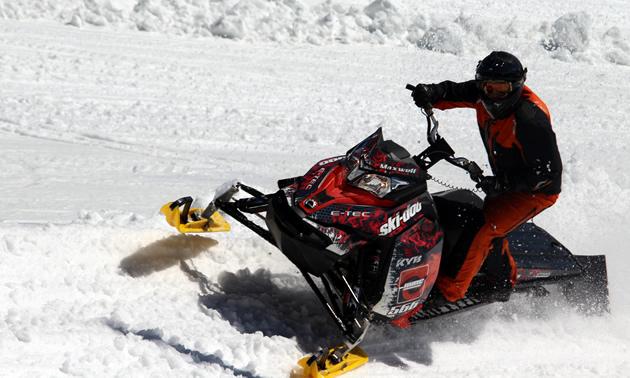 Sean Maxwell races hillclimb on his sled.