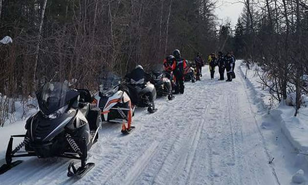Snowmobilers lined up on a trail near Powerview-Pine Falls.