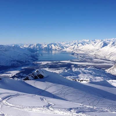 View of Valdez Bay and the mountains around Valdez.