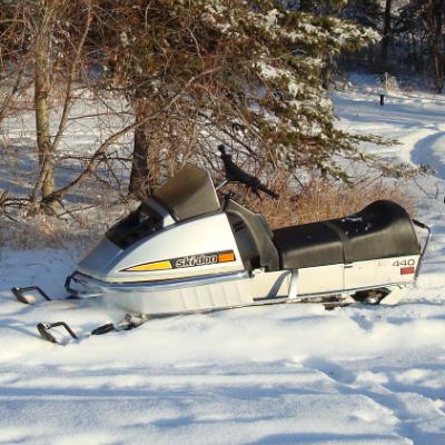 1973 Ski-Doo 440 Silver Bullet.