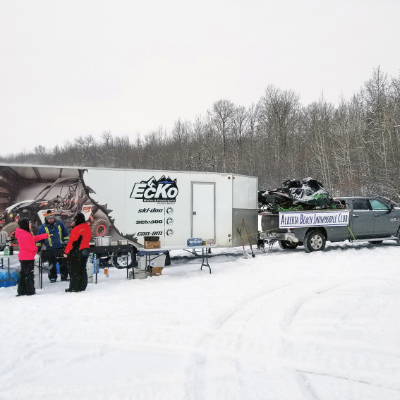 Volunteers cook chili and hot dogs at the 2019 Alberta Beach Snowmobile Club Poker Rally.