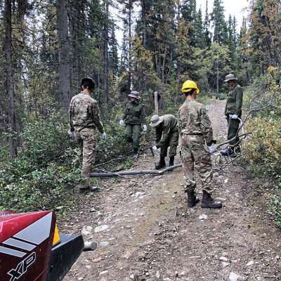 Army Cadets clear the trail with the KSA.