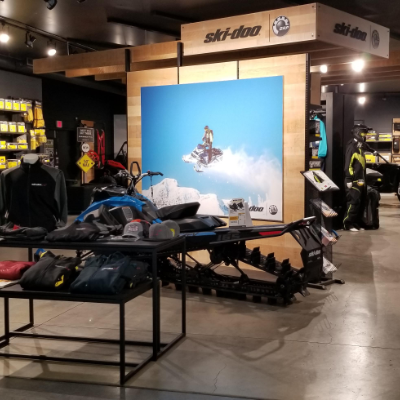 Banner Recreation & Marine's interior showcases the store's clothing and accessories.