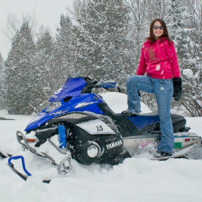Courtney Fender is a fervent snowmobile drag racer.