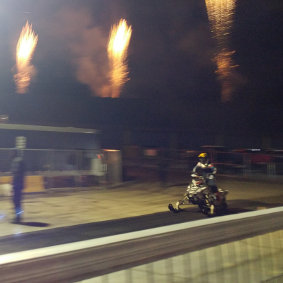 Professional snowmobilers performed jaw-dropping stunts while pyro blasted off all around them at CBK-X Winter Blitzville in Cranbrook.