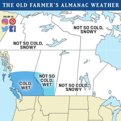 The Old Farmer's Almanac weather map of Canada for winter 2019-2020.