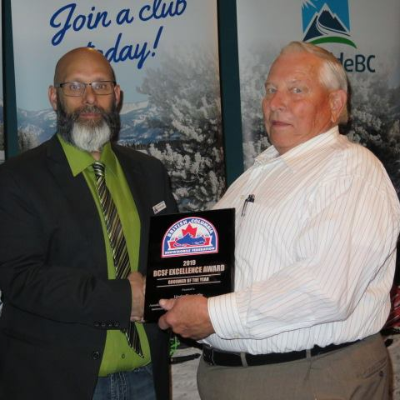 Herb Shaede accepts the British Columbia Snowmobile Federation award for Groomer of the Year.