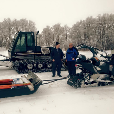 Jim Cottingham grooms trails for the Snowtraxx Snowmobile Club in Foxwarren, Manitoba.