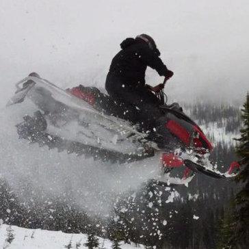 A snowmobiler gets air in Kamloops, B.C.